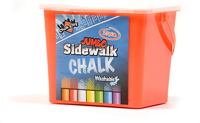 20 Piece Jumbo Washable Sidewalk Chalk