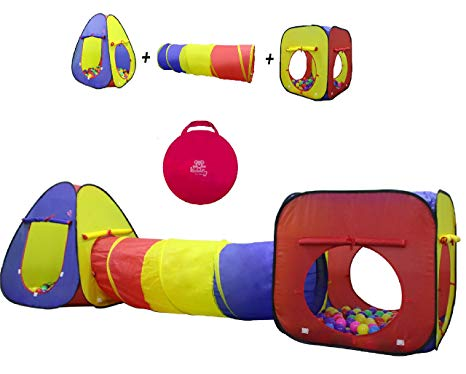 Kids Play Tent Crawl Tunnel and Ball Pit Set