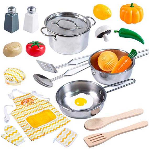 Kitchen Pretend Play Stainless Steel Cookware Pots and Pans Set
