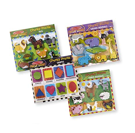Melissa + Doug Wooden Chunky Puzzle Farm/Pet/Safari/Shapes Puzzle (8 Piece)