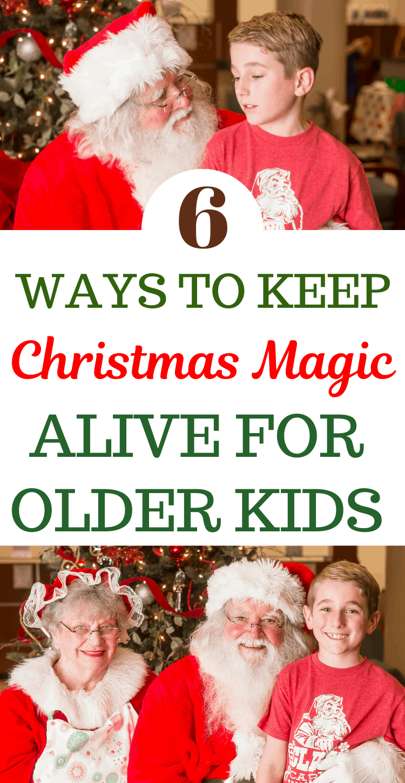 older child with santa - keeping Christmas spirit alive for older child
