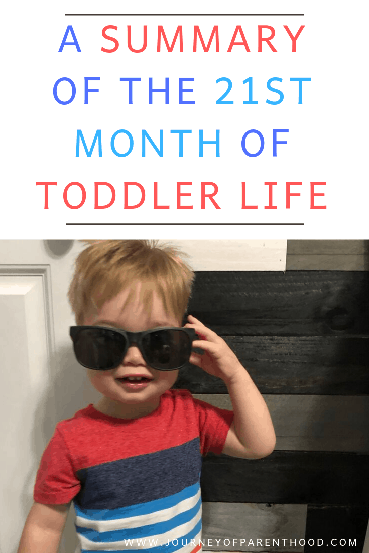 toddler boy with sunglasses - a summary of the 21st month of toddler life