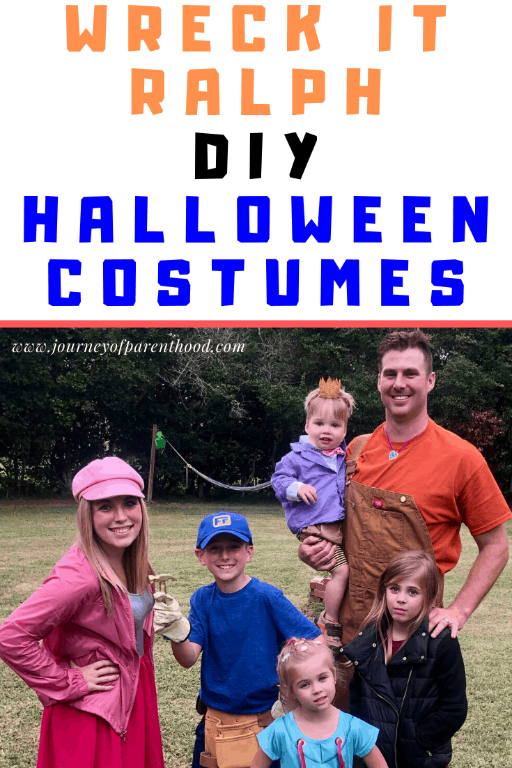 family dressed like wreck it Ralph, fix it Felix jr, shank, vanellope, taffyta and king candy