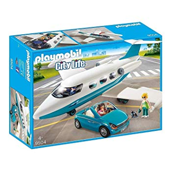 PLAYMOBIL Jet with Car and Dog + Pilot and Two Guest