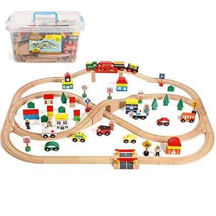 Wooden Train Set with Accessories