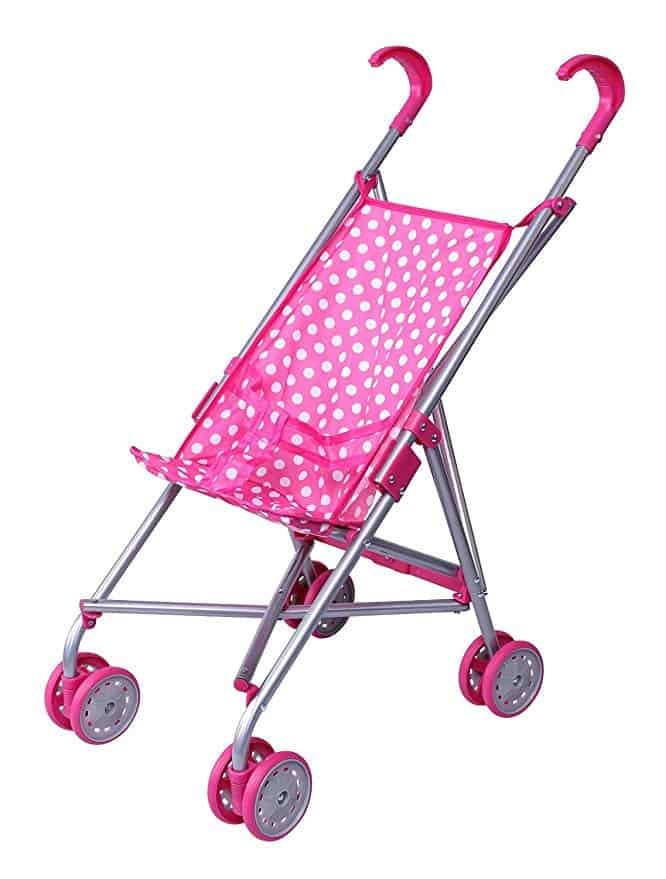 Pink &White Polka Dots Foldable Doll Stroller