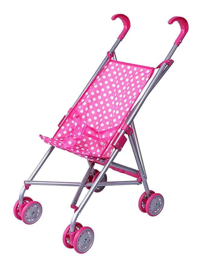 Pink &White Polka Dots Foldable Doll Stroller