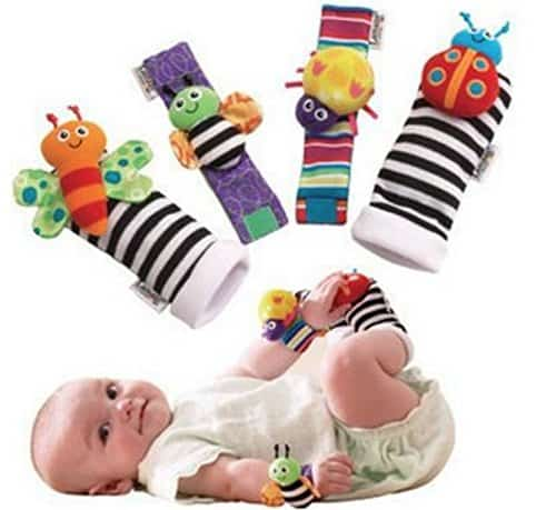 Animal Soft Baby Socks Toys Wrist Rattles and Foot Finders
