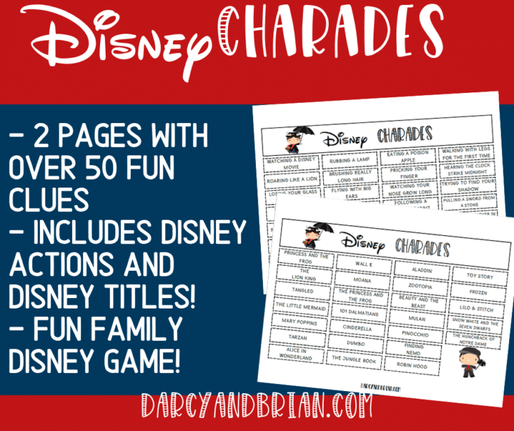 Printable Disney Themed Charades Game for Kids