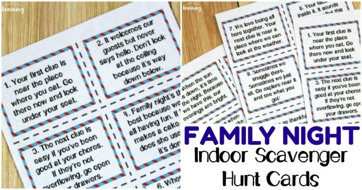 Printable Indoor Family Night Scavenger Hunt Cards