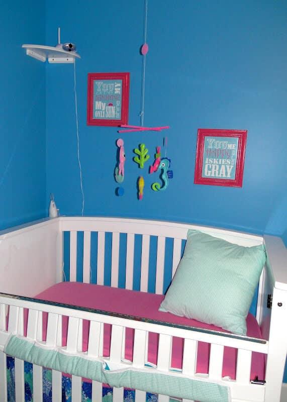 modern mermaid themed girl nursery
