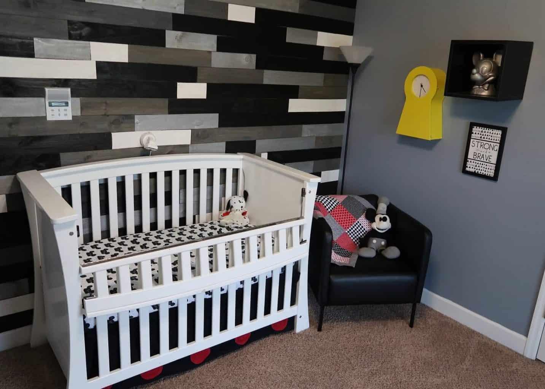 modern Mickey Mouse themed boy nursery