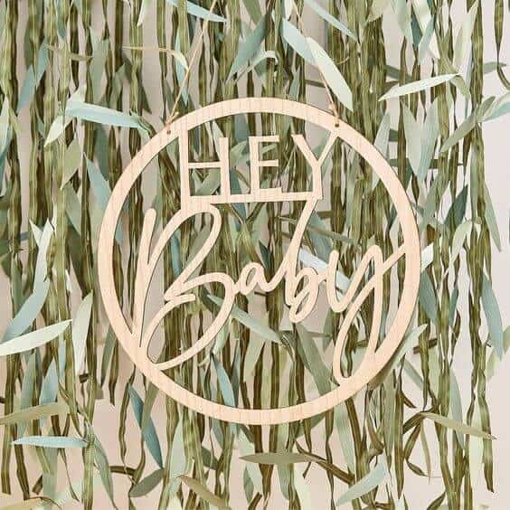 wooden hey baby sign for shower