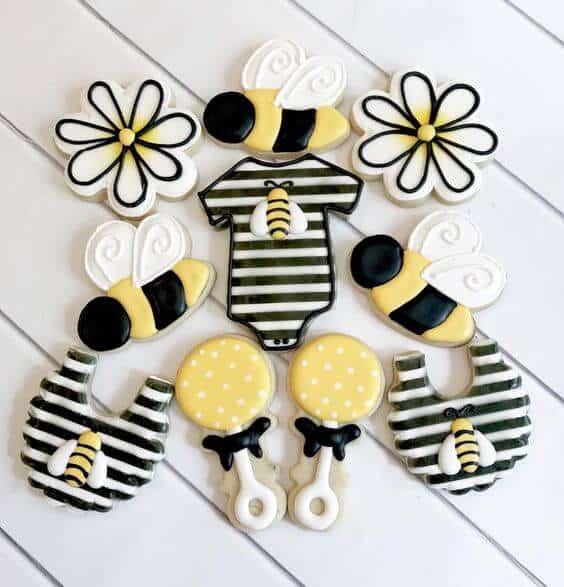 honey bee shower cookies