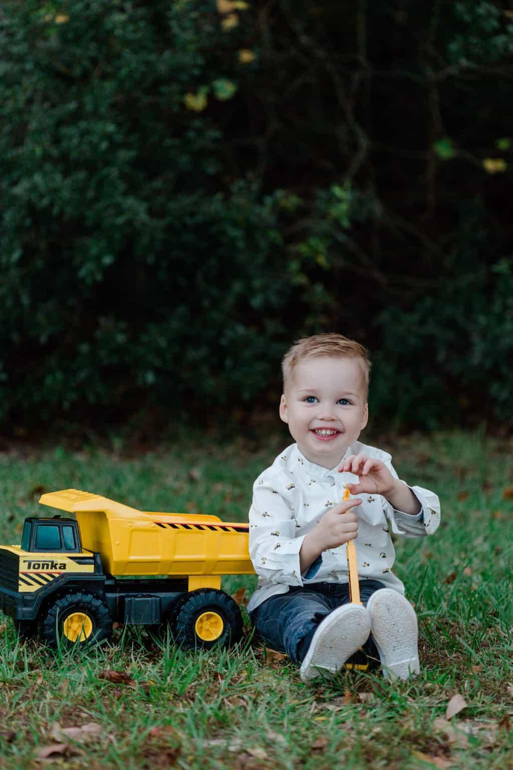 toddler boy with dump truck - Best Summer Family Photo Ideas