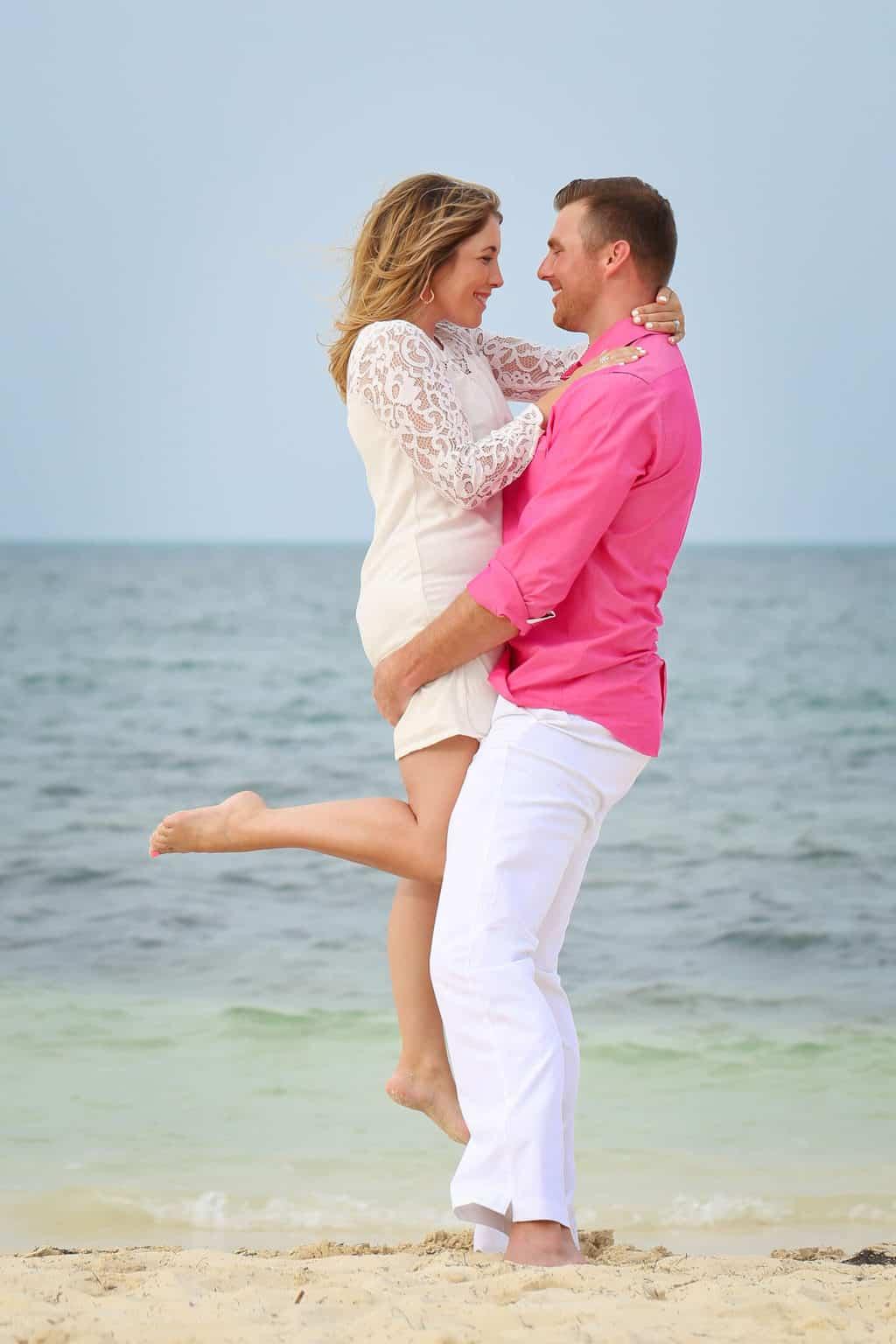 wearing white for beach photos as a couple
